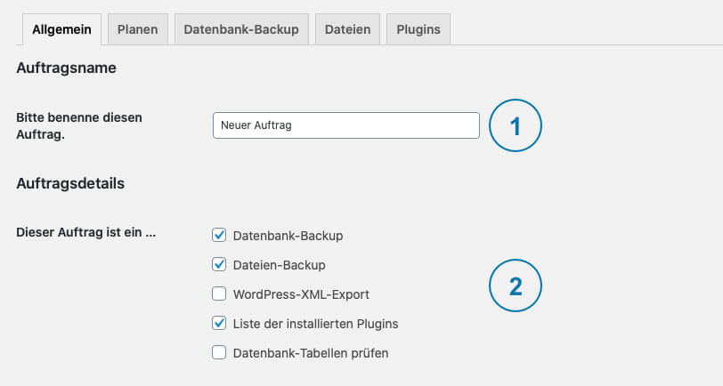 Backup WordPress - BackWPup Auftrag