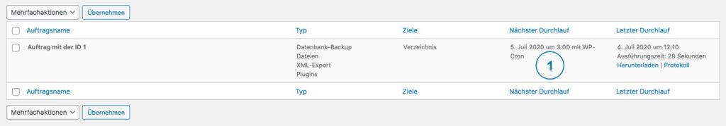 Backup WordPress - BackWPup Automatisch Auftrag