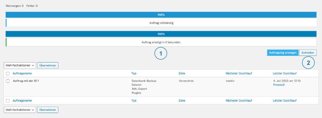 Backup WordPress - BackWPup Sicherung abgeschlossen