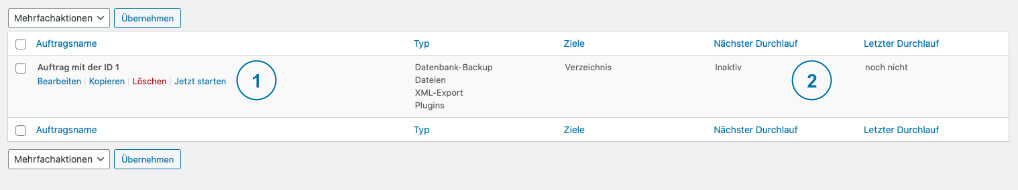 Backup WordPress - BackWPup Sicherung starten