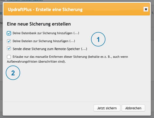 Backup WordPress - Updraft Sicherung Abfrage