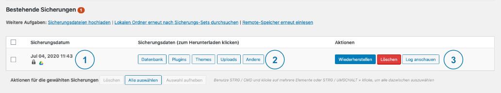 Backup WordPress - Updraft Sicherung abgeschlossen