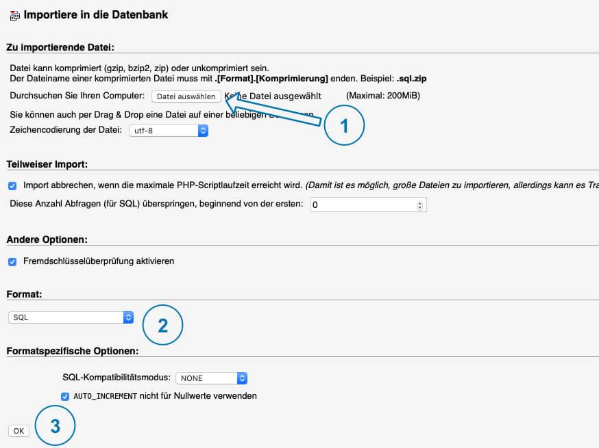 WordPress Backup wiederherstellen Datenbank Importieren