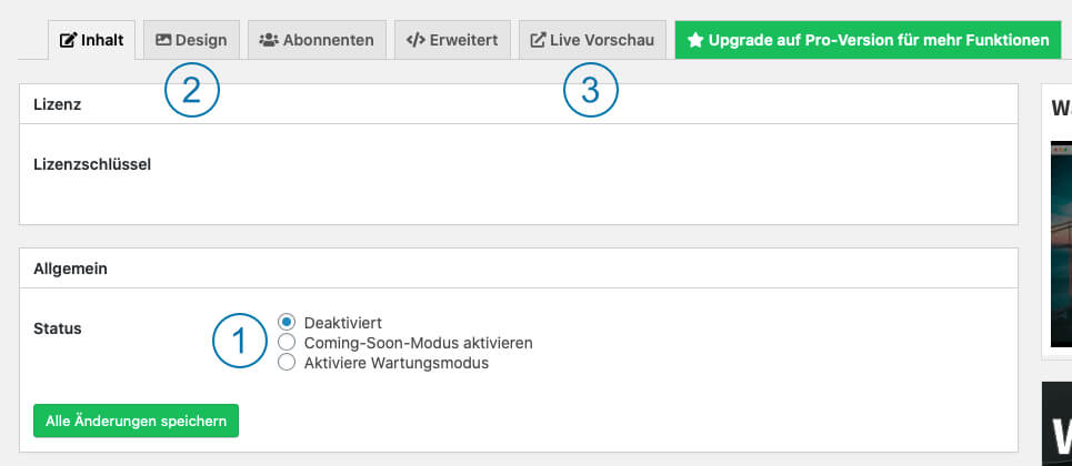 WordPress Wartungsmodus - Coming Soon page - Einstellungen