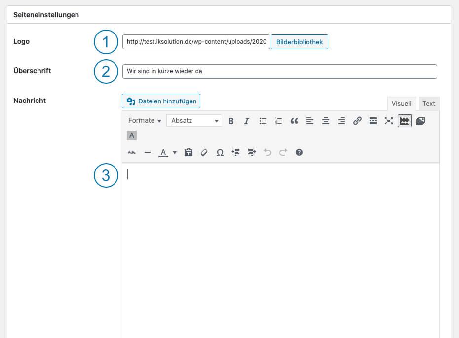 WordPress Wartungsmodus - Coming Soon page - Seiteneinstellungen