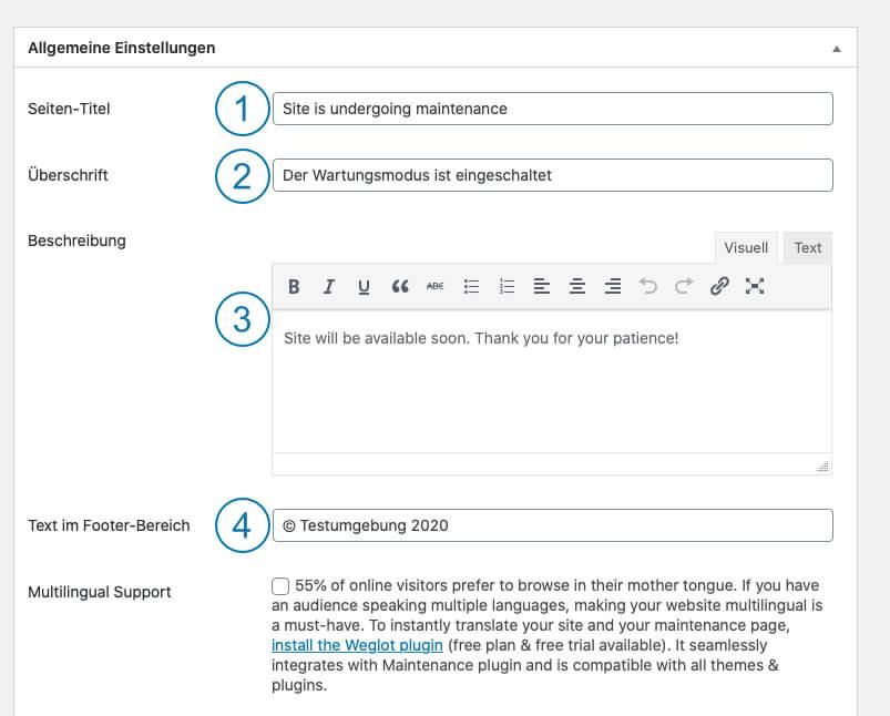 WordPress Wartungsmodus - Maintenance Allgemeine Einstellungen