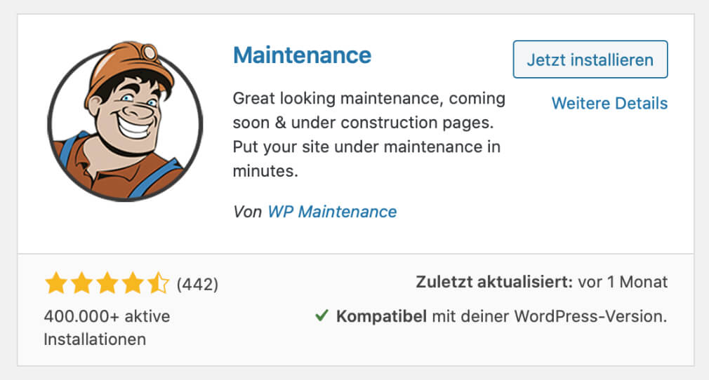 WordPress Wartungsmodus Maintenance