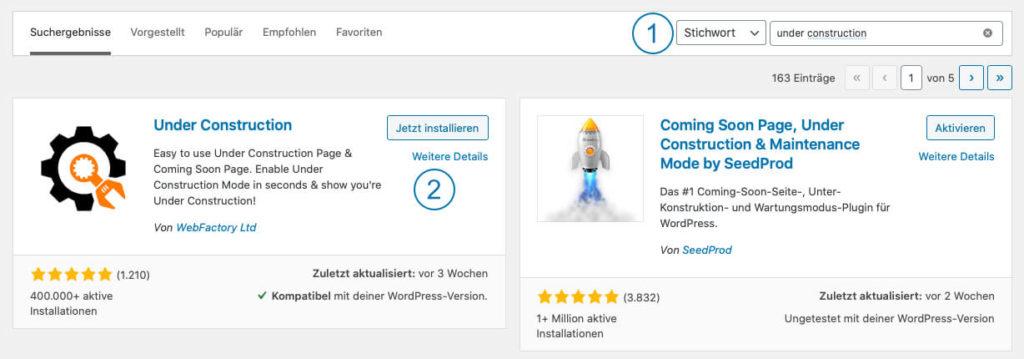 WordPress Wartungsmodus - Under Contruction - Installation